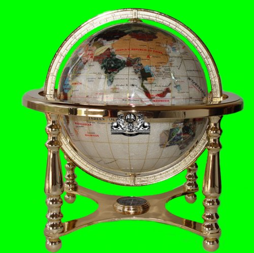 21'' Tall Table Top Pearl Ocean Gemstone World Globe with 4 Leg Zinic Metal Gold Stand by Unique Art Since 1996