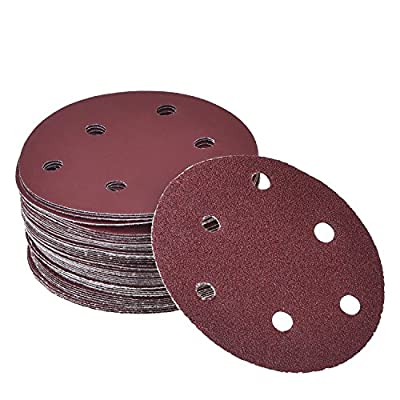 eBoot 50 Pieces 12.5 cm/ 5 Inch Hook and Loop Sandpaper Sanding Discs Pads 40/ 60/ 80/ 100/ 120/ 180/ 240/ 320/ 400/ 800 Assorted Grits 6-Holes