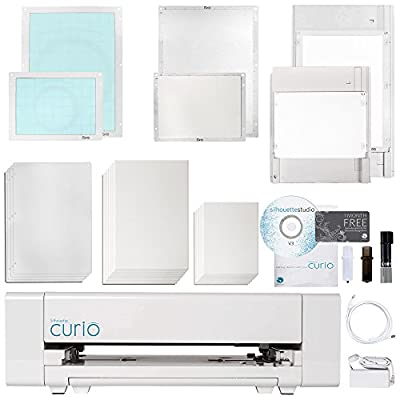 Silhouette Curio Digital Crafting Machine with Large 12 Inch X 8.5 Inch Base and Embossing Bundle