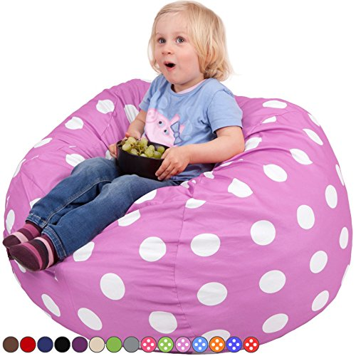 Oversized Bean Bag Chair in Lavender with White Polka Dots - Machine Washable Big Soft Comfort Cover with Memory Foam Filler - Cozy Lounger & Bed - Kids & Teens Love This Huge Sack - by Panda Sleep