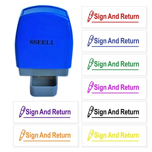 (SSEELL Sign and Return Reward Stamp Self Inking for School Student Teacher Homework Feedback Stamp Rubber Flash Stamp Self-Inking Pre-Inked RE-inkable School Stationary - Blue Ink Color)