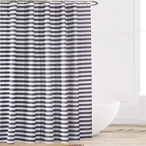 Chic D Grey Gray White Striped Pattern 84 Inch Extra Long Shower Curtains Fabric Polyester