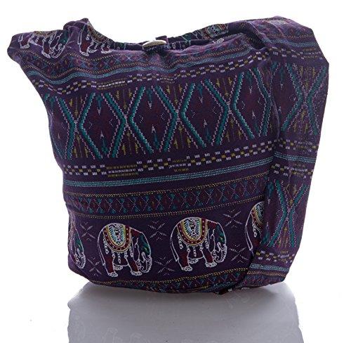 Avarada Thai Cotton Hippie Hobo Sling Crossbody Bag Messenger Purse Bohemian Geometry Cross Stitch Elephant Pattern Purple
