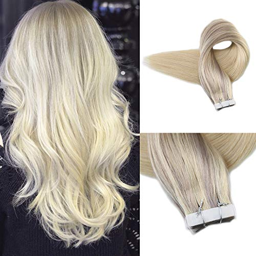 Full Shine 14 Inch Nordic Tape Hair Extensions 20pcs 50g Color #18 Ash Blonde Fading To Color #22 Highlighted With Color #60 Balayage Tape In Hair Human Extensions Real Hair Thick Ends