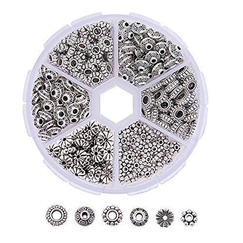 BELLARMOR 300 PCS 6 Style Spacer Beads Tibetan Silver Bead Caps Antique Metal Alloy Jewelry Findings Accessories for Bracelet Necklace Crafts Jewelry Making