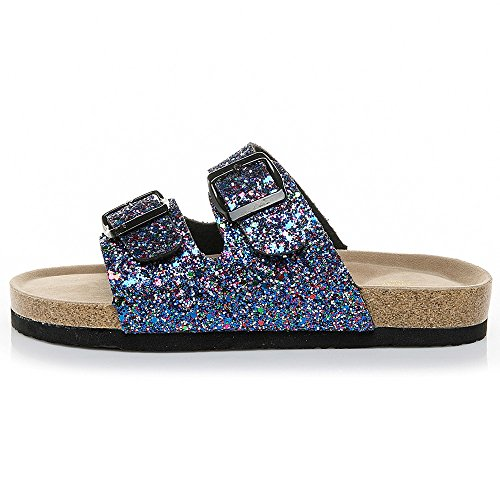 (Comfort Low Sequin Easy Slip On Sandal - Casual Cork Footbed Platform Sandal Flat - Trendy Open Toe Slide Sandal Shoes Blue)