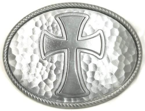 Pewter Belt Buckle Cross - LARGE CLASSIC CROSS - HAMMERED PEWTER FINISH BELT BUCKLE