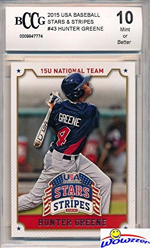 Hunter Greene 2015 Panini USA Baseball Stars & Stripes #43 ROOKIE Graded HIGH BECKETT 10 MINT! Awesome HIGH Grade Rookie of 2017 MLB #2 Pick! 102 MLB Fastball and Home ()