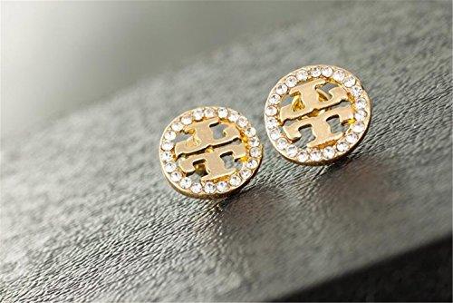 P.phoebus 18K Yellow Gold Plated Earrings Vintage White Swarovski Crystal Studs Rhinestones Dangle Charms Hoops for Women Girls - Crystal Logo Earrings