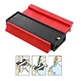 Contour Gauge Duplicator, 5 Inch Profile Copy Gauge for Woodworking Project Copy Layout Shape, Measuring Tool for Perfect Fit and Easy Cutting Locking Marking Angle Duplications Kit (Red)