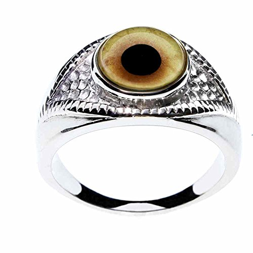 Steel Dragon Unisex Werewolf Glass Eye Ring in an Eye-Shaped Stainless Steel Setting Jewelry (Werewolf, 9)