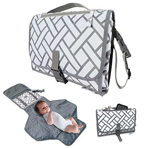 Baby Portable Changing Pad, Travel Kit Diaper Bag Station, Waterproof Diaper Changing Mat for Baby with Head Cushion, Stroller Strap for Newborns