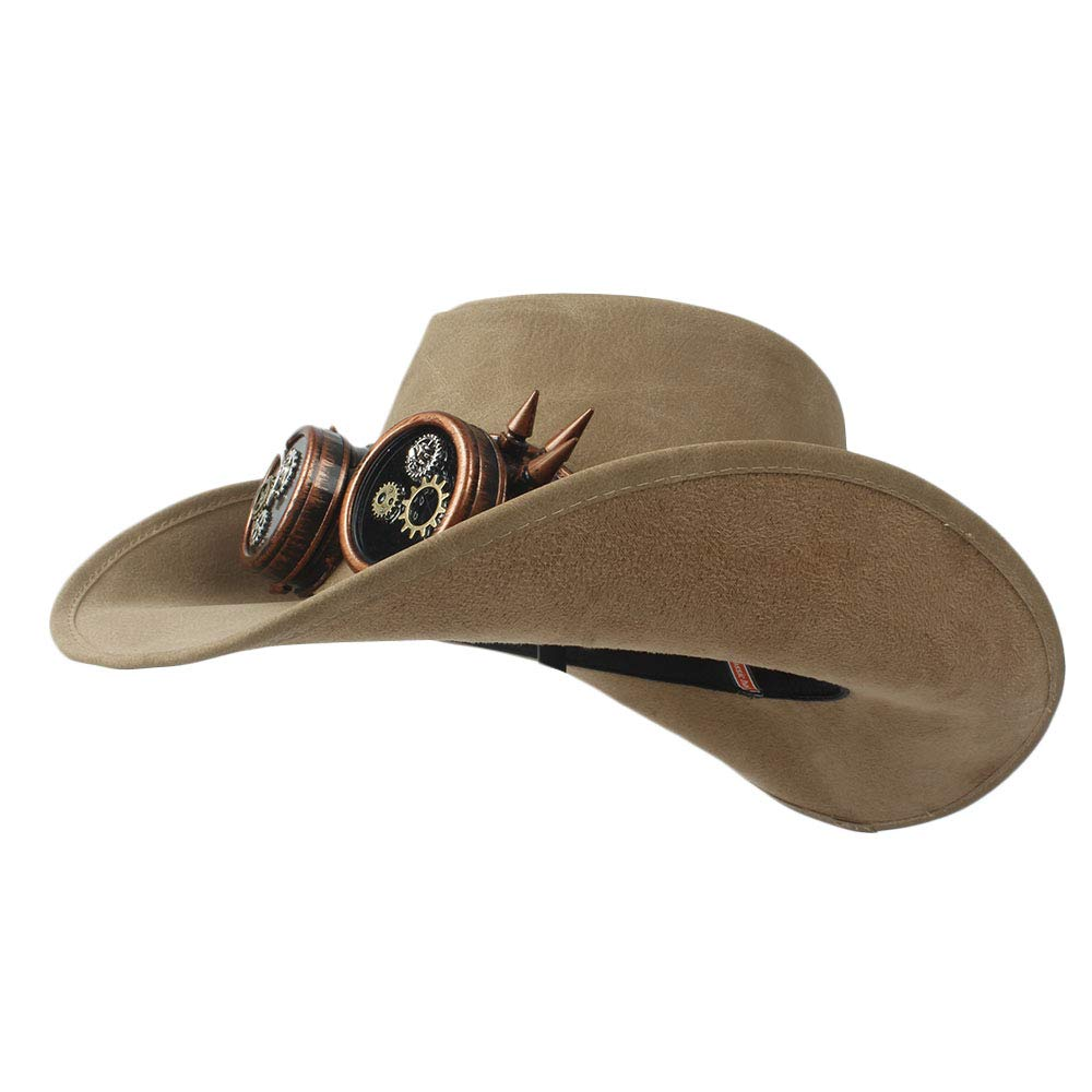 HYF Womens Western Cowboy Hat Faux Leather Bowler Metal Decoration Wide Brim Men Women Black Cap