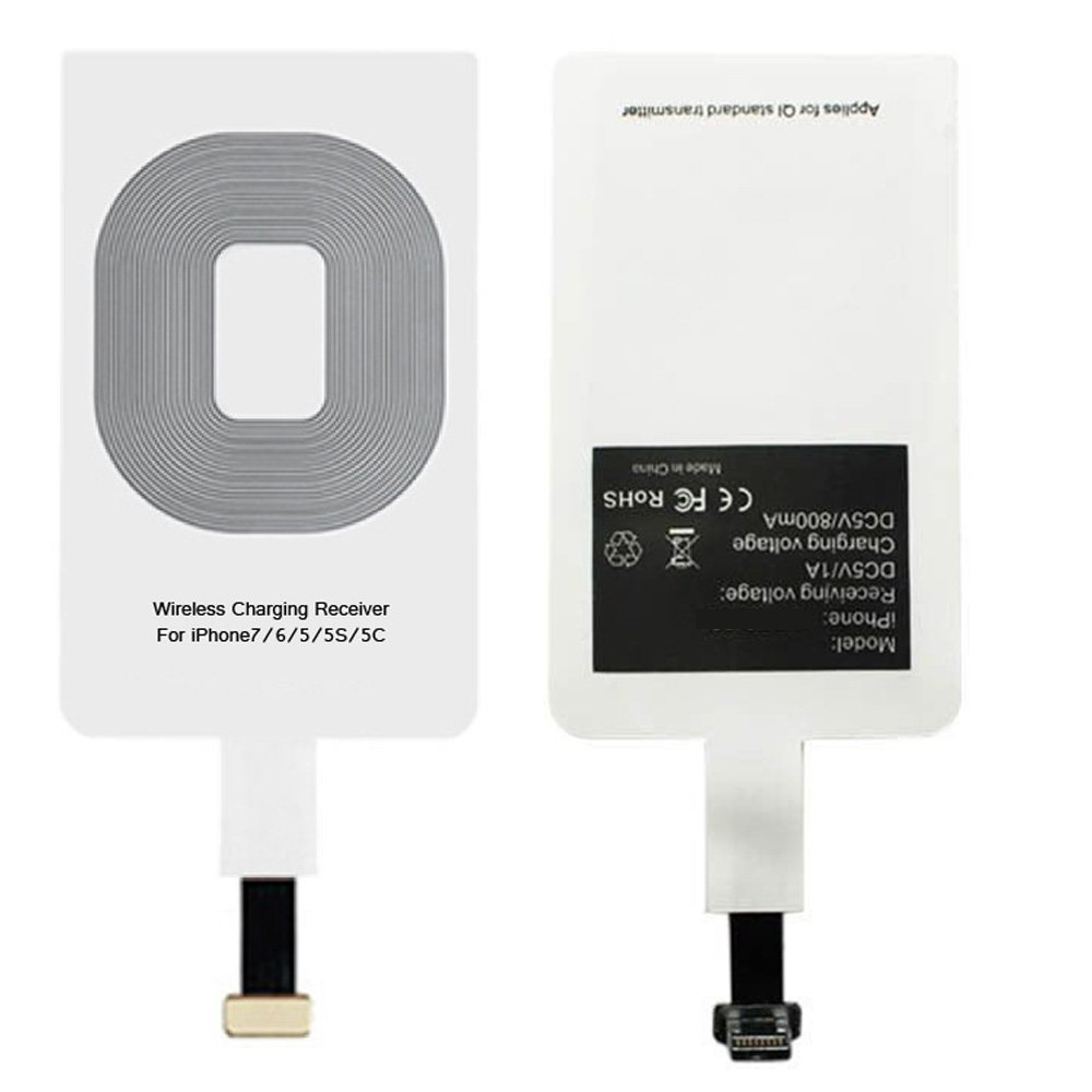 Wireless Charger Receiver Qi Charging Adapter for iPhone 7 6 6s 5s 5c se 5 s c 5se 4 iPhone7 iPhone6s iPhone6 i7 i6 i6s iPhone5 iPhone5s iPhone5se Compatible - Cordless Charge Receptor Module Card Tag