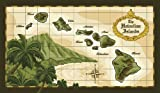 GBH Hawaiian Islands Vintage Style Map Deluxe Velour Beach Towel