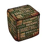 Thumbprintz Basketball Words Pouf Medium 18 x 18