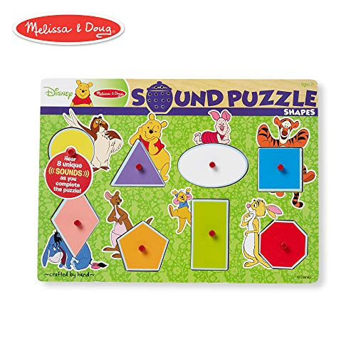 Melissa & Doug Disney Winnie the Pooh Shapes Sound Puzzle - Wooden Peg Puzzle (8 pcs)