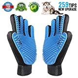 [2018 Updated ] Pet Grooming Glove, Pet Deshedding Tool Brush Glove, Efficient Pet Hair Removal Mitt, Massage and Bathing Comb for Dogs and Cats