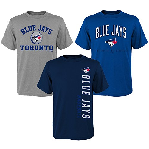 Apparel Jays Blue (OuterStuff MLB Youth Boys 8-20 Blue Jays 3Piece Tee Set, S(8), Assorted)