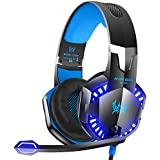 VersionTech G2000 Stereo Gaming Headset for Xbox One PS4 PC, Surround Sound Over-Ear Headphones with Noise Cancelling Mic, LED Lights, Volume Control for Laptop, Mac, iPad, Nintendo Switch Games -Blue