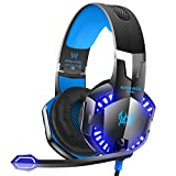 #3: VersionTECH. G2000 Stereo Gaming Headset for Xbox One PS4 PC, Surround Sound Over-Ear Headphones with Noise Cancelling Mic, LED Lights, Volume Control for Laptop, Mac, iPad, Nintendo Switch Games -Blue