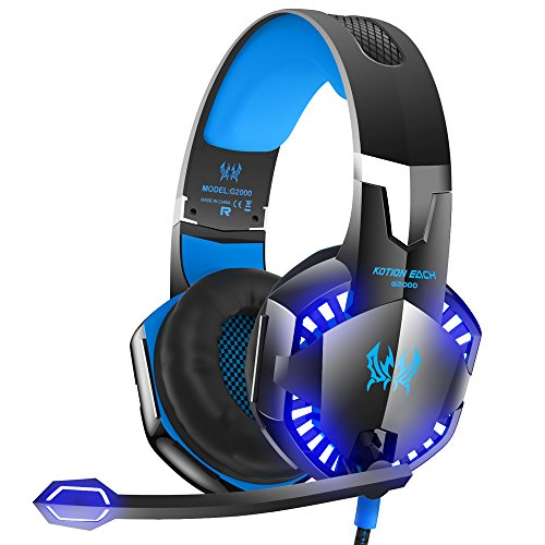 Mic Headset (VersionTECH. G2000 Stereo Gaming Headset for Xbox One PS4 PC, Surround Sound Over-Ear Headphones with Noise Cancelling Mic, LED Lights, Volume Control for Laptop, Mac, iPad, Nintendo Switch Games -Blue)