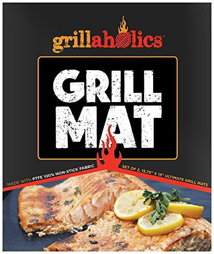 Basket Fire Starter (Grillaholics Grill Mat - Set of 2 Heavy Duty BBQ Grill Mats - Non Stick, Reusable, and Easy to Clean Barbecue Grilling Accessories - Lifetime Manufacturers Warranty)