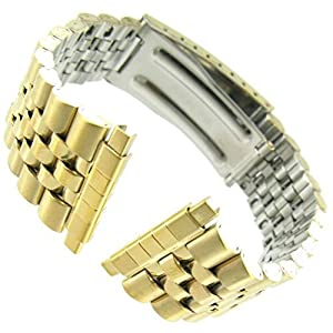 16-22mm Kreisler Rolex Type Center Clasp Metal Watch Band by United Watchbands