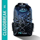 FE Active 30L Eco Friendly Waterproof Dry Bag Backpack Great for all Outdoor and Water related activities. Padded Shoulder Straps, Corded Exterior and Mesh Netting for Increased Carrying Capacity