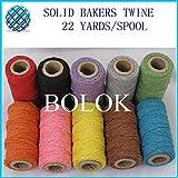 FINCOS 200pcs/lot (22yards/Spool) Single Color Cotton Twine, Plain Cotton Bakers Twine, 2mm 12 ply, 10 Color wholesales