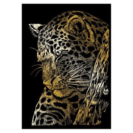 ROYAL BRUSH GOLMIN-103 Gold Foil Engraving Leopard in Tree Art Mini Kit, 5