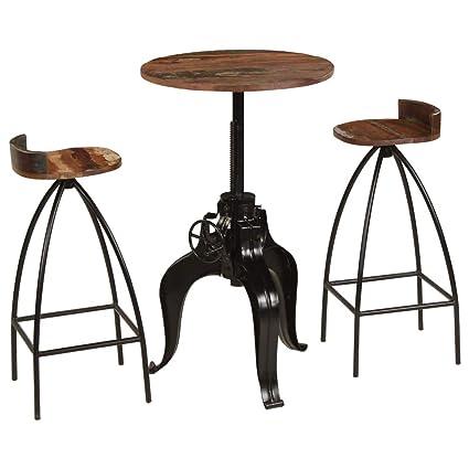 Tidyard- Set Mesa y Sillas Bar Muebles para Bar Mesa de Cafetería 3 ...