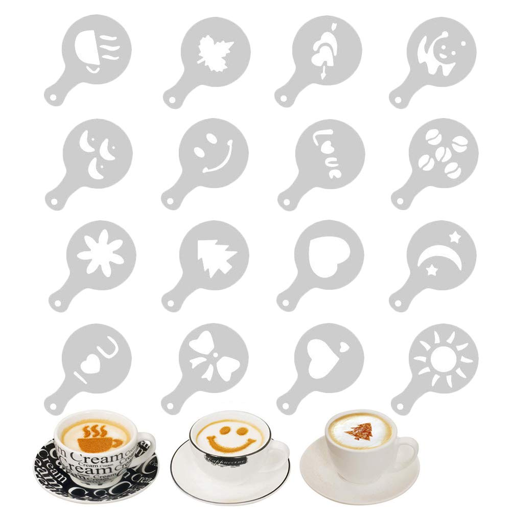 Coffee Stencils, Barista Template Strew Flowers Pad Latte Art for Decorating Cupcake Cake Hot Chocolate 16 Pcs/Set EQLEF®