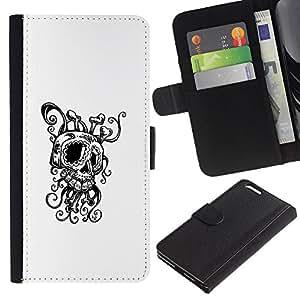 KLONGSHOP // Tirón de la caja Cartera de cuero con ranuras para tarjetas - Octopus Squid Skull - Apple Iphone 6 PLUS 5.5 //
