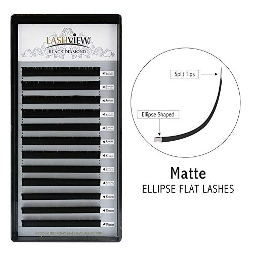 LASHVIEW SUPER MATTE Split Tips Mink Black Ellipse Flat Eyelash Extension 0.20mm Thickness 8mm Length D Curl Individual Semi-permanent Application-friendly Extremely Soft Lashes For Salon Use