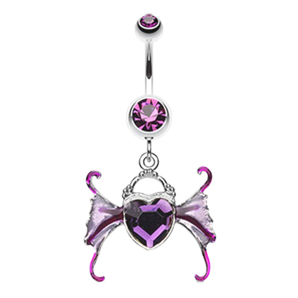 14 GA Angel Heart Wing Sparkle Belly Button Ring 316L Surgical Stainless Steel Body Piercing Jewelry For Women and Men Davana Enterprises Multiple Colors