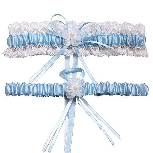 MMTTAO Wedding Garter for Bridal Leg Ring Satin Bow Pearl Stretch Prom Garters Set - Light Blue (Sexy Leg Garter Set)