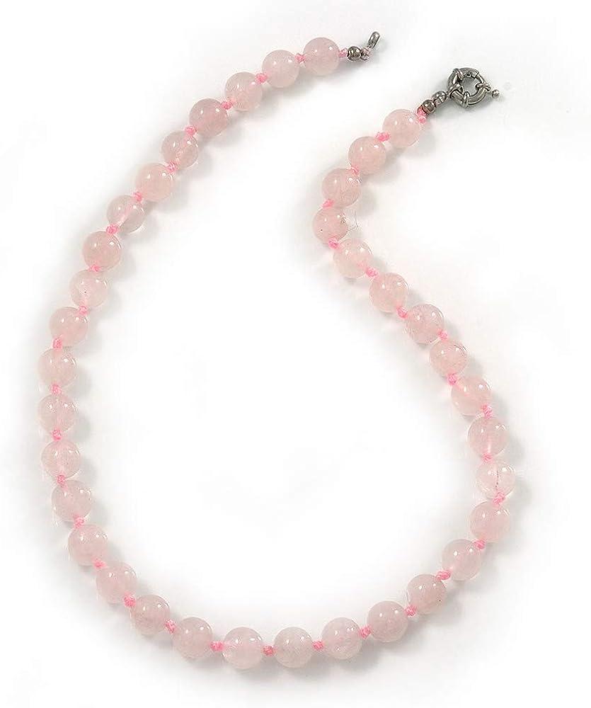 10 mm Rose cuarzo piedra semi-preciosa collar con anillo de cierre - 47 cm L