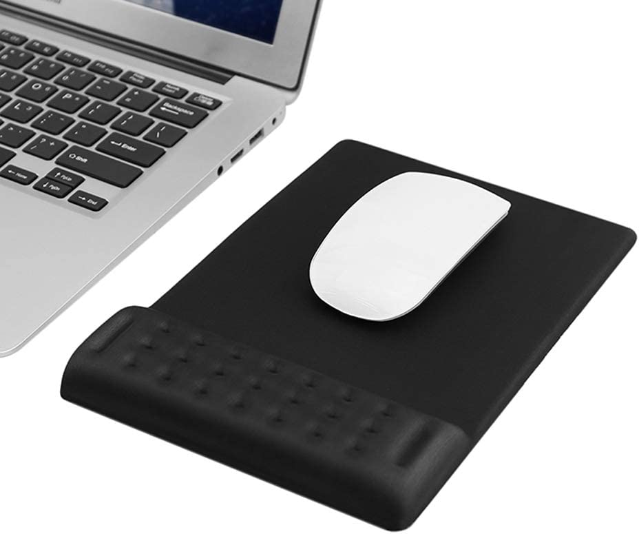 Ergonomic Padded Mouse Pad with Wrist Rest Memory Foam Soft Comfortable Wrist Rest Support Cushion for Office, Computer, Laptop, Mac Typing and Wrist Pain Relief and Repair (Mouse pad, Black)