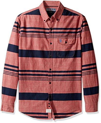 U.S. Polo Assn. Mens Stripe, Plaid Print Long Sleeve Single Pocket Sport Shirt