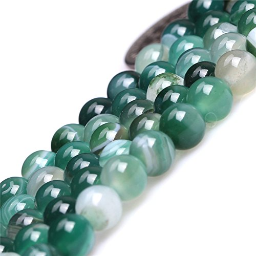 6mm Natural Semi Precious Round Banded Green Agate Gemstone Beads for Jewelry Making Strand 15