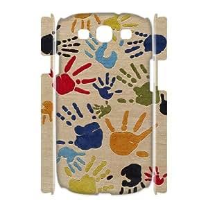 3D Cathyathome Handprint Samsung Galaxy S3 Cases Finger Paint For Girls, Samsung Galaxy S3 Cases For Men, [White]