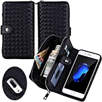 Urvoix iPhone 7 Plus / 8 Plus Case, Woven Skin Leather Zipper Wallet Detachable / Separable Magnetic Back Shell Cover / Hand Strap, Card Slots for iPhone 7 Plus / 8 Plus(5.5-inches Version) Black