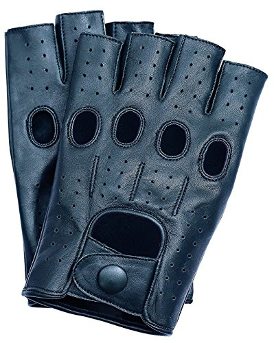 (Riparo Women's Fingerless Half Finger Driving Motorcycle Unlined Leather Gloves (7, Black))