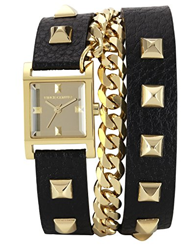 Vince Camuto Women's VC/5088GMBK Square Gold-Tone Double-Wrap Black Leather Strap Watch