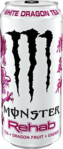 Monster Rehab White Dragon Tea, Tea + Dragon Fruit + Energy, Energy Iced Tea, 15.5 Ounce (Pack of 24)