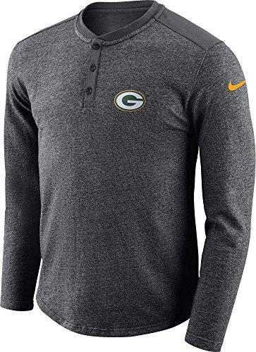 Nike Mens Gray Premium Cotton Green Bay Packers Long Sleeve Henley (Medium) ()