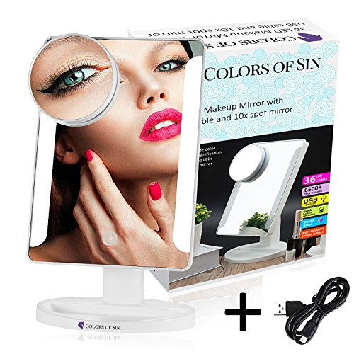 Colors of Sin LED Touch Screen Makeup Mirror, Lighted Makeup Mirror / Natural Bright Light Makeup Mirror with Touch Screen,180 Degree Rotation, Movable with 10x Magnification Spot Mirror, White ()