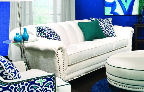 Chelsea Home Furniture Channel Sofa, Heavenly Oyster with 2 18″accent Pillows and 1 16″ Emerald accent Pillow included