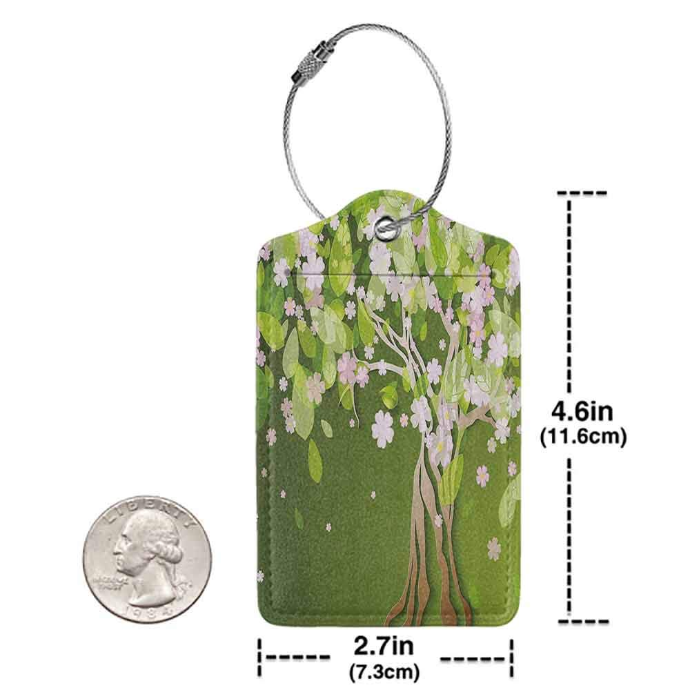 Personalized luggage tag Floral Tree with Blossoming Flourishing Petals Florets Spring Elegance Print Easy to carry Fern Green Light Pink W2.7 x L4.6